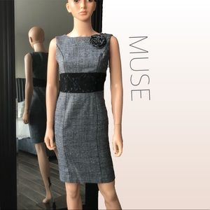 MUSE Grey & Black Tweed and  Lace Sheath Dress